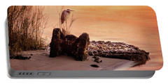 Heron On The Rocks Portable Battery Charger by Phil Mancuso