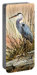 Heron Sunset Portable Battery Charger by James Williamson