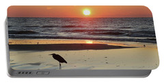 Heron Watching Sunrise Portable Battery Charger