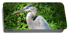 Portable Battery Charger featuring the digital art Blue Heron With An Attitude by Kathy Kelly