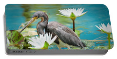 Heron With Water Lillies Portable Battery Charger