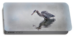 Heron Fishing  - Textured Portable Battery Charger