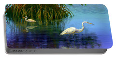 Herons In Mangroves Portable Battery Charger by David  Van Hulst