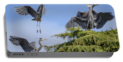 Herons Mating Dance Portable Battery Charger by Keith Boone