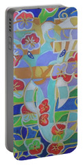 Portable Battery Charger featuring the painting Hexagram 16 - Yu - Enthusiasm by Denise Weaver Ross