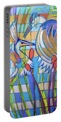 Portable Battery Charger featuring the painting Hexagram 17-sui by Denise Weaver Ross
