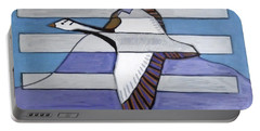 Portable Battery Charger featuring the painting Hexagram 20-kuan-contemplation by Denise Weaver Ross