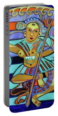 Portable Battery Charger featuring the painting Hexagram 23-po-splitting Apart by Denise Weaver Ross