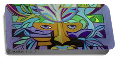 Portable Battery Charger featuring the painting Hexagram 24-fu-turning-point by Denise Weaver Ross