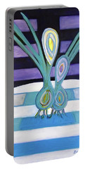 Portable Battery Charger featuring the painting  Hexagram 34-ta Chuang-vigor by Denise Weaver Ross