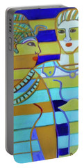 Portable Battery Charger featuring the painting Hexagram 44-gou-encounter by Denise Weaver Ross