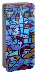 Portable Battery Charger featuring the painting Hexagram 45-cui-gathering by Denise Weaver Ross