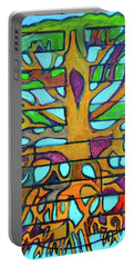 Portable Battery Charger featuring the painting Hexagram 46-sheng-pushing Upward by Denise Weaver Ross