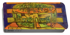 Portable Battery Charger featuring the painting Hexagram 50-ding-the-cauldron by Denise Weaver Ross
