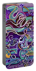 Portable Battery Charger featuring the painting Hexagram-51-zhen-thunder-shock by Denise Weaver Ross