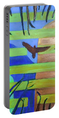 Portable Battery Charger featuring the painting Hexagram-57-xun-penetrating-wind- by Denise Weaver Ross