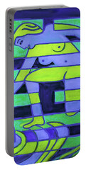 Portable Battery Charger featuring the painting Hexagram-58-tui-joy by Denise Weaver Ross