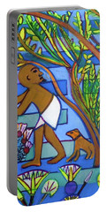 Portable Battery Charger featuring the painting ,hexagram 60-jie-constraint by Denise Weaver Ross