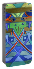 Portable Battery Charger featuring the painting Hexagram-61-zhoong-fu-sincerity by Denise Weaver Ross