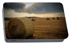 Portable Battery Charger featuring the photograph Hey Bales And Sun Rays by David Dehner