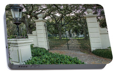 Portable Battery Charger featuring the photograph Heyman House Gates by Gregory Daley  PPSA