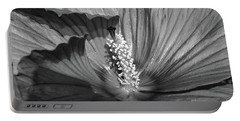 Hibiscus Black And White Portable Battery Charger