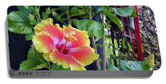 Hibiscus Bloom By The Red Trellis Portable Battery Charger