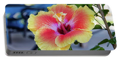 Hibiscus Bloom On The Patio Portable Battery Charger
