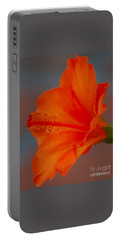 Hot Orange Hibiscus Portable Battery Charger