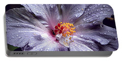 Hibiscus In The Rain Portable Battery Charger