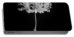 Hibiscus Schizopetalus Against A Black Background In Black And White Portable Battery Charger
