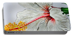 Portable Battery Charger featuring the painting Hibiscus White And Red by Sheron Petrie