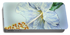 Portable Battery Charger featuring the painting Hibiscus White And Yellow by Sheron Petrie