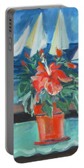 Hibiscus With An Orange And Sails For Breakfast Portable Battery Charger