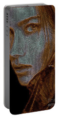 Portable Battery Charger featuring the digital art Hidden Face In Sepia by Rafael Salazar