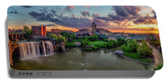 Portable Battery Charger featuring the photograph High Falls Panorama by Mark Papke