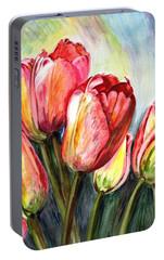 Portable Battery Charger featuring the painting High In The Sky by Harsh Malik