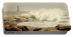 High Surf After A Hurricane Crashing On The Rocks At Peggy's Cove, Nova Scotia, Canada Portable Battery Charger