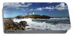 High Surf At Nubble Light Portable Battery Charger