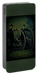 Portable Battery Charger featuring the photograph High Wheeled Bicyclists 1885 by Peter Gumaer Ogden