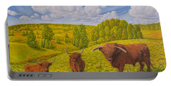 Highland Cattle Pasture Portable Battery Charger