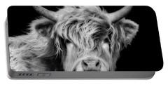 Highland Cow Portrait Portable Battery Charger
