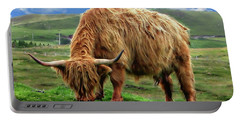 Highland Cow Portable Battery Charger by Anthony Dezenzio