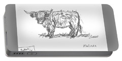 Highland Cow Field Sketch Portable Battery Charger
