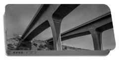 Highway 52 Over Spring Canyon, Black And White Portable Battery Charger