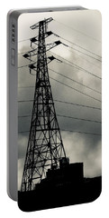 Highwires In Winters Sky Bw Portable Battery Charger