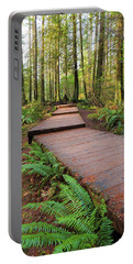 Hiking Trail Wood Walkway In Lynn Canyon Park Portable Battery Charger