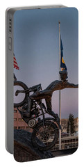 Portable Battery Charger featuring the photograph Hill Climber Catches The Moon by Randy Scherkenbach