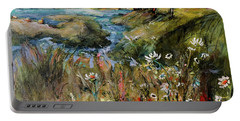 Hill Top Wildflowers Portable Battery Charger by Sharon Furner