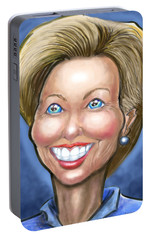 Portable Battery Charger featuring the digital art Hillary Clinton Caricature by Kevin Middleton
